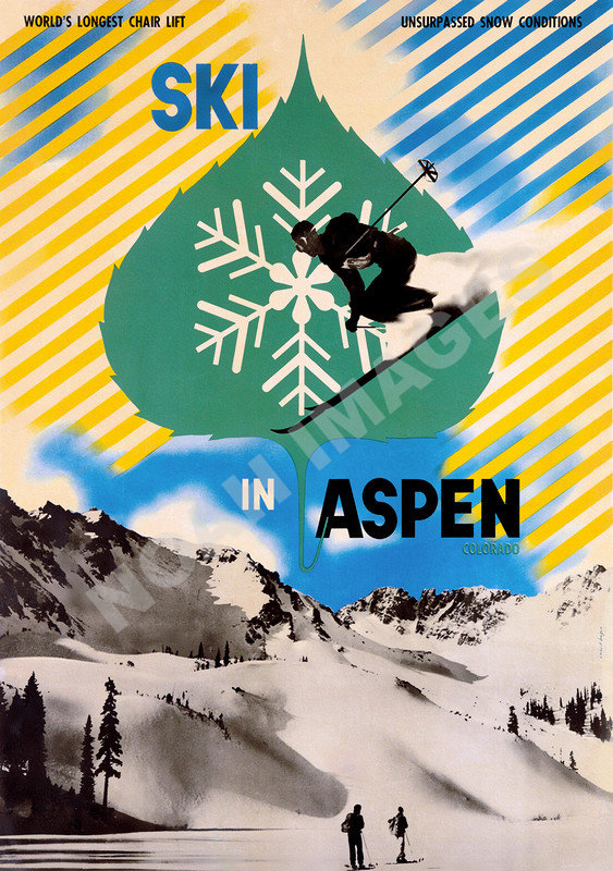 Aspen Vintage Travel Ski Poster