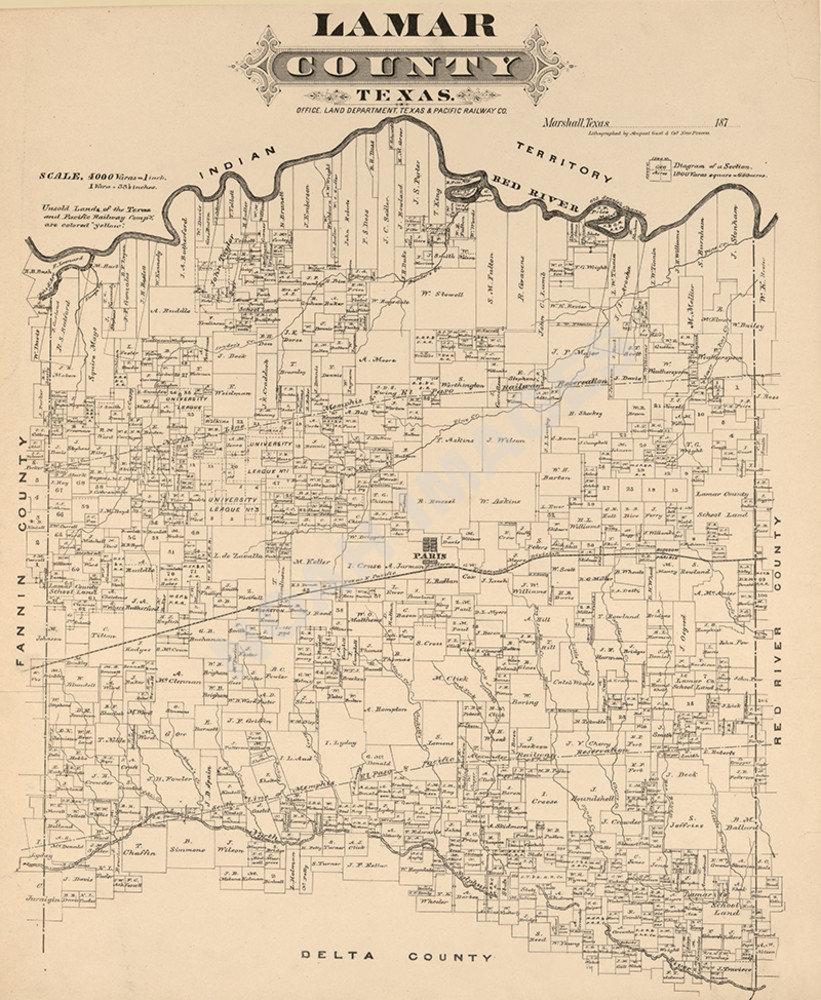 Map of Lamar County TX c1870s repro 20x24 | eBay