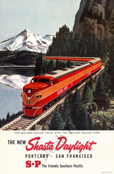 Vintage west coast tra... Vintage Train Poster