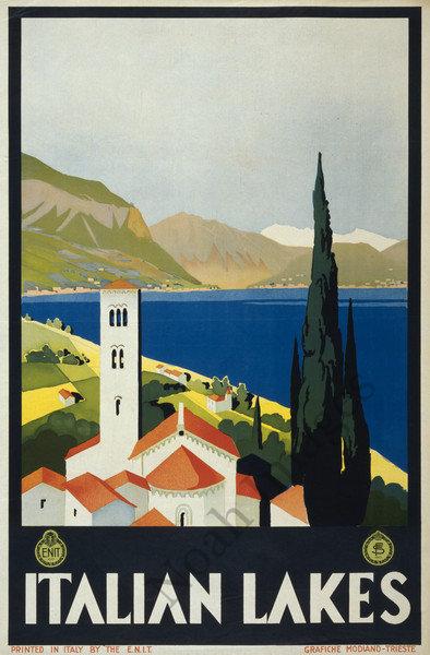 Repro Italian Antique Tarot Minchiate Cards 1 790: Italian Lakes Vintage Travel Poster Repro 24x36