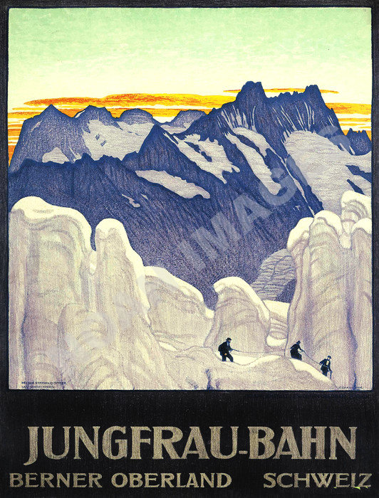 Jungfrau-Bahn Berner Oberland Schweiz vintage winter ski travel poster 12x18