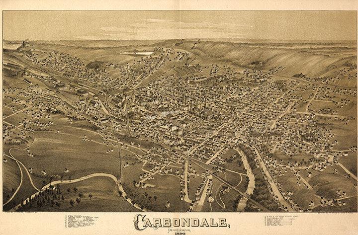 Carbondale PA c1890 map 36x24